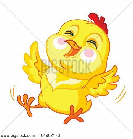 Very Cheerful Cartoon Chicken Rolling With Laughter. Cute Animal. Vector Illustration For Postcard,p