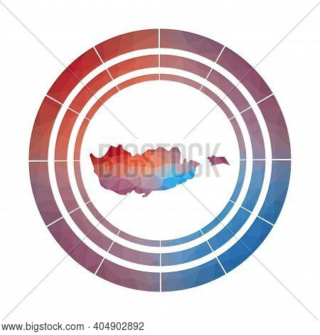 Cyprus Badge. Bright Gradient Logo Of Country In Low Poly Style. Multicolored Cyprus Rounded Sign Wi