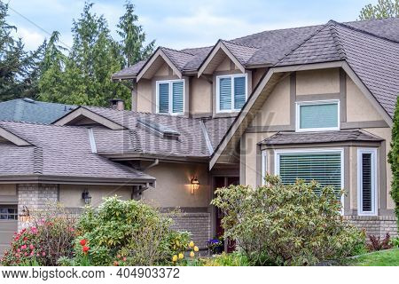 Fragment of a house with nice outdoor landscape in Vancouver, Canada.