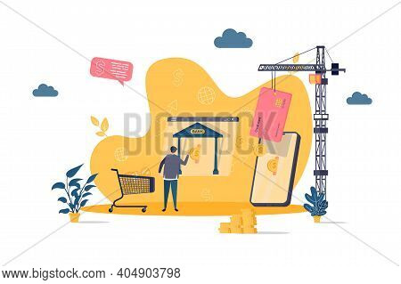 Mobile Banking Concept In Flat Style. Man Makes Payment From Mobile Banking Aplication Scene. Web Ap
