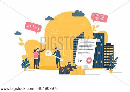Real Estate Concept In Flat Style. Realtor Gives Key To New Homeowners Scene. Real Estate Agency, Bu
