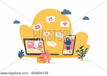 Social Network Concept In Flat Style. Friends Online Chatting Scene. Internet Community Communicatio