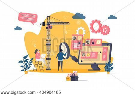 Software Testing Concept In Flat Style. Engineer Debugging Web Application Scene. Software Testing A