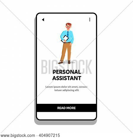 Personal Assistant, Businessman Secretary Vector Illustration Flat