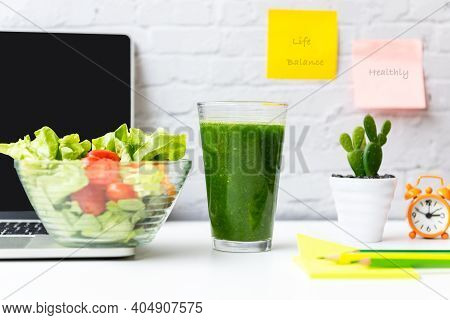 Healthy Snack With Working In Office.  Green Apple, Fresh Salad And Vegetable Smoothie For Diet Heal