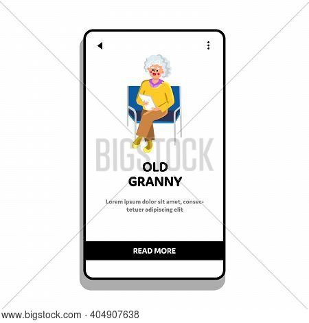 Old Granny Sitting On Chair With Documents Vector