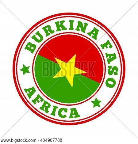 Burkina Faso Sign. Round Country Logo With Flag Of Burkina Faso. Vector Illustration.