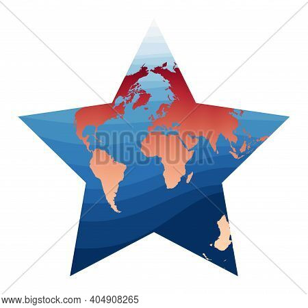 World Map Vector. Berghaus Star Projection. World In Red Orange Gradient On Deep Blue Ocean Waves. C