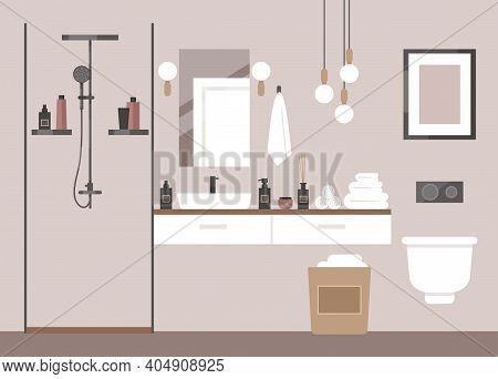Modern Bathroom. Deluxe Hotel Room, Spa Salon, Suite. Toilet, Shower, Lights, Chandelier, Towels, Co