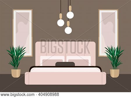 Luxurious Bedroom In A Classic Style, Large Bed With A Headboard, House Plants, Lamps. Hotel Room Su