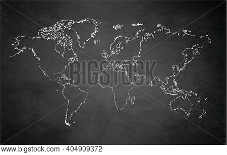 World Continents Map, Administrative Division, Separates Continent, Design Card Blackboard Chalkboar