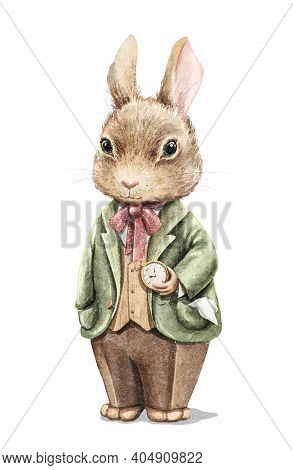 Watercolor Vintage Boy Bunny Rabbit In Suit Holding Gold Pocket Watch Isolated On White Background.