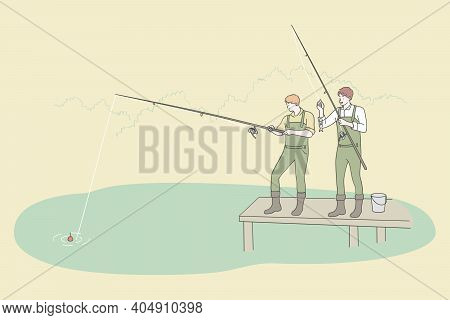 Fishing And Recreation Sport Leisure Concept. Two Young Men Friends In Boots Cartoon Characters Fish