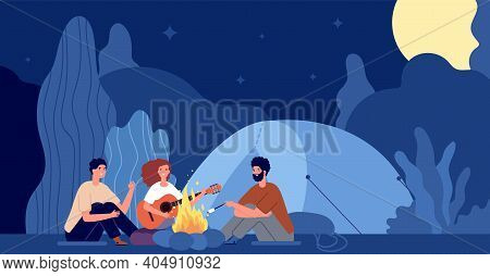 People Sitting Fire. Scary Night, Campfire In Forest And Friends. Man Woman Relaxing In Camp Nature,