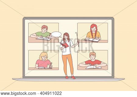 Elearning And Online Education Concept. Laptop Screen With Young Woman Teacher And Sitting And Learn