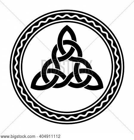 Intertwined Triquetra, A Celtic Knot, In A Circle Frame With White Wavy Line. Triangular Figure Used
