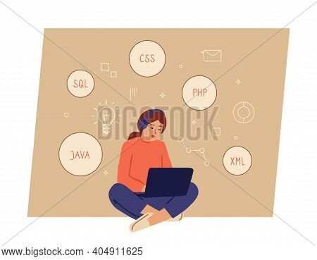 Girl Programming. Programmer Working, Female Character With Laptop And Headphones. Woman Coding Or L