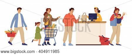 Store Queue. Cartoon Waiting Line, Food Shopping Market Or Supermarket. Customer Group, People Crowd