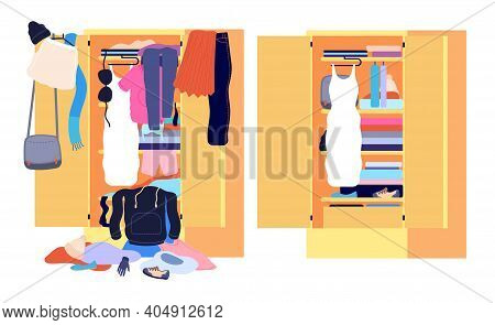Wardrobe Mess. Messy Cloth, Before After Home Clothes Organization. Open Cabinet Clutter, Tidy Untid