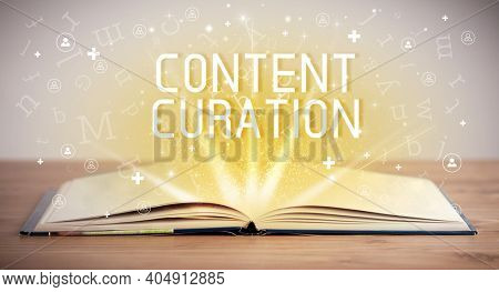 Open book with CONTENT CURATION inscription, social media concept