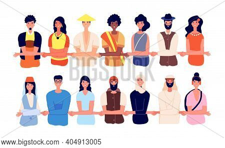 Protesters Together. Women Protest, Group Friends United And Holding Hands. Cartoon Friendly People,