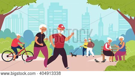 Elderly In Park. Old People, Senior Healthy Lifestyle. Retired Family Walk, Cartoon Grandparents Sum