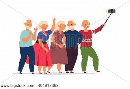 Seniors Group. Old People, Elderly Friends Together Doing Selfie. Happy Cartoon Modern Grandparents