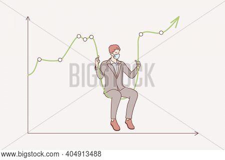 Stock Market Crash During Coronavirus Concept. Businessman Wearing Medical Face Mask Sitting On Mark