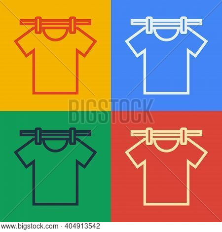 Pop Art Line Drying Clothes Icon Isolated On Color Background. Clean Shirt. Wash Clothes On A Rope W