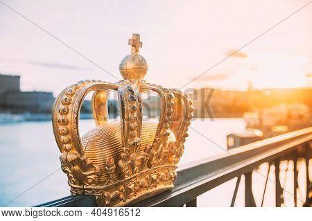 Stockholm, Sweden. Skeppsholmsbron - Skeppsholm Bridge With Its Famous Golden Crown In Stockholm, Sw