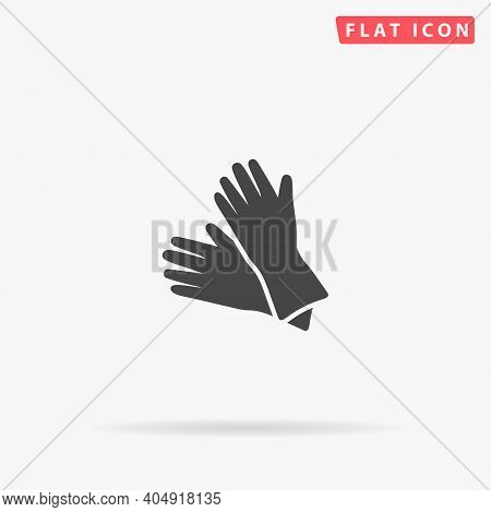 Cleaning Rubber Gloves Flat Vector Icon. Hand Drawn Style Design Illustrations.