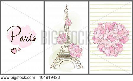 Cards With Paris Symbols. Eiffel Tower. Peony. Vector Illustration.