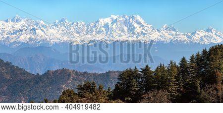 Mount Chaukhamba And Woodland, Himalaya, Panoramic View Of Indian Himalayas, Great Himalayan Range,