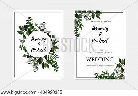 Save The Date Wedding Invite Card With Floral Green Leaves, Eucalyptus. Vector Botanical Template Bo