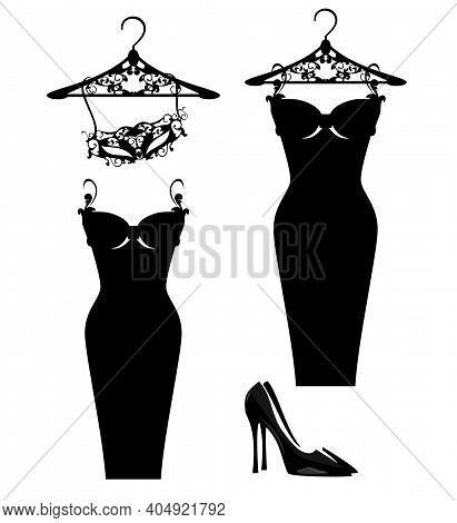 Luxuriuos Haute Couture Women Fashion Atelier Design Set With Vector Silhouettes Of Little Black Dre