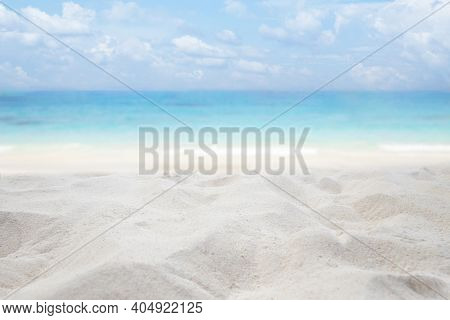 Sandy Beach At Ocean In A Tropical , Summer Holiday Travel Concept