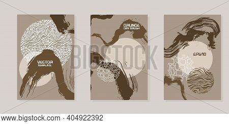 Handdrawn Beige Templates For Design. Grunge Brush Stroke Set. Business Cards With Handdrawn Pattern