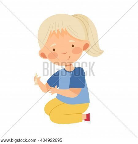 Blond Girl Holding Chessman Or Chess Piece With Hand Vector Illustration