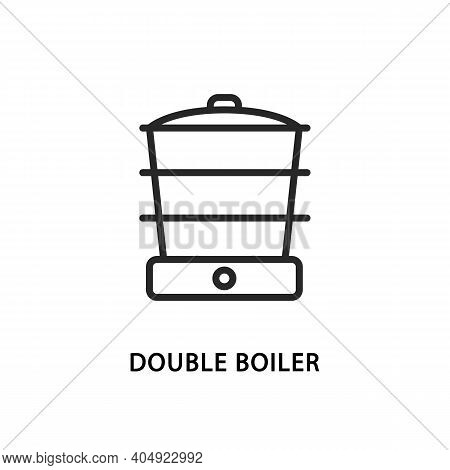 Double Boiler Flat Line Icon. Vector Illustration Kitchen Appliances For Healthy Eating