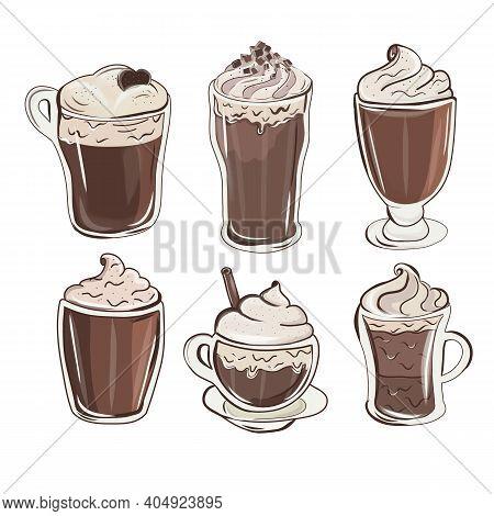 Colorful Milkshake Design. Cute Chocolate Milkshakes. Set Of Refreshing Summer Drinks. Cupcake, Milk