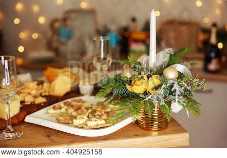 Luxury Romantic Candlelight Dinner Table Setup For Couple. Stylish Table Setting With Burning Candle