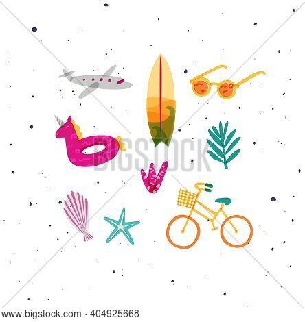 Summer Elements Airplane, Surfboard, Sun Glasses, Swim Ring, Tree, Starfish, Shell Plants Bike Drawi