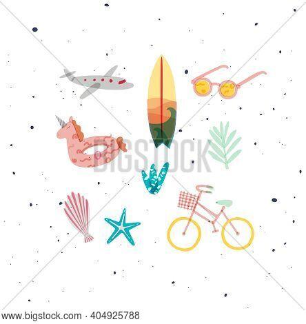 Summer Elements Airplane, Surfboard, Sunglasses, Swim Ring, Tree Starfish Shell Plants Bike