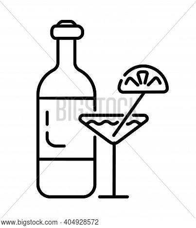 Vermouth, Tequila, Alcohol Icon Vector. Bottle Of Wine, Cocktail With Lemon Are Shown. Whiskey, Vodk