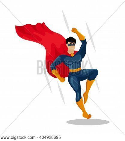 Comic Superhero Lands On The Ground. Hero. Male Super Hero
