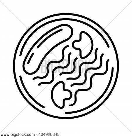 Main Course Menu Icon Vector. Sausages With Pasta And Mushrooms On A Plate, As Main Dish Of A Restau