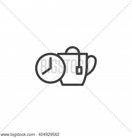 Tea Brewing Time Line Icon. Linear Style Sign For Mobile Concept And Web Design. Tea Brew Instructio