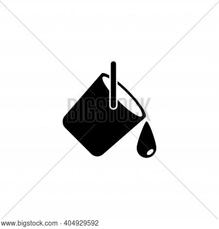 Paint Can And Ink Drop, Bucket Pouring Out. Flat Vector Icon Illustration. Simple Black Symbol On Wh