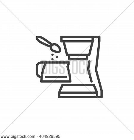 Coffee Brewing Instruction Icon. Linear Style Sign For Mobile Concept And Web Design. Coffee Maker A