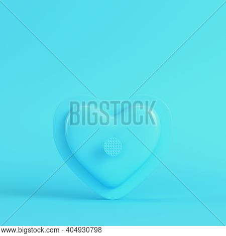 Abstract Heart Shape On Bright Blue Background In Pastel Colors. Minimalism Concept. 3d Render